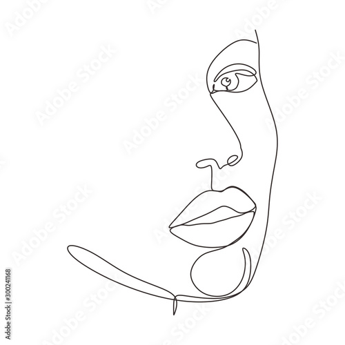 Foto Continuous one line drawing of abstract face minimalism and simplicity vector illustration