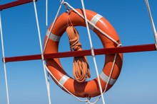 Life Buoy Ring On Ship Against...