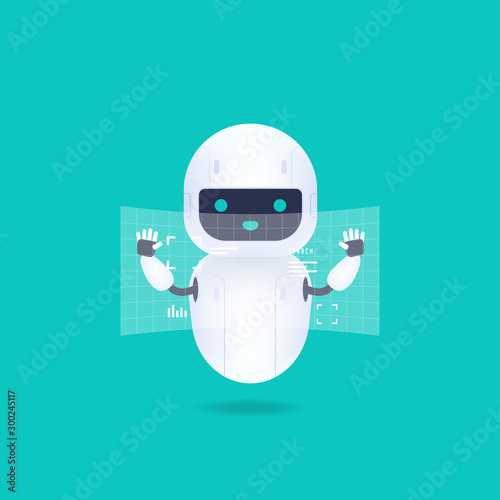 White friendly android robot with HUD interface screen Canvas Print