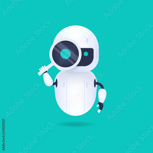 Photo White friendly android robot looking through the magnifying glass
