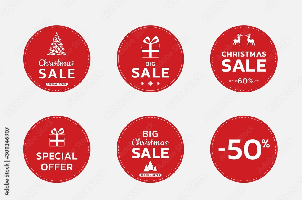 Fototapety, obrazy: Christmas sale label set. Christmas and new year promotion design. sale stickers