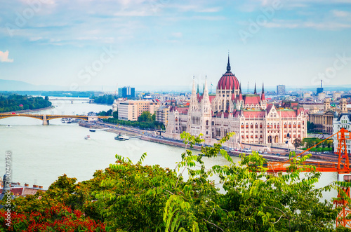 Beautiful view of Hungarian parliament, Budapest , Hungary Wallpaper Mural