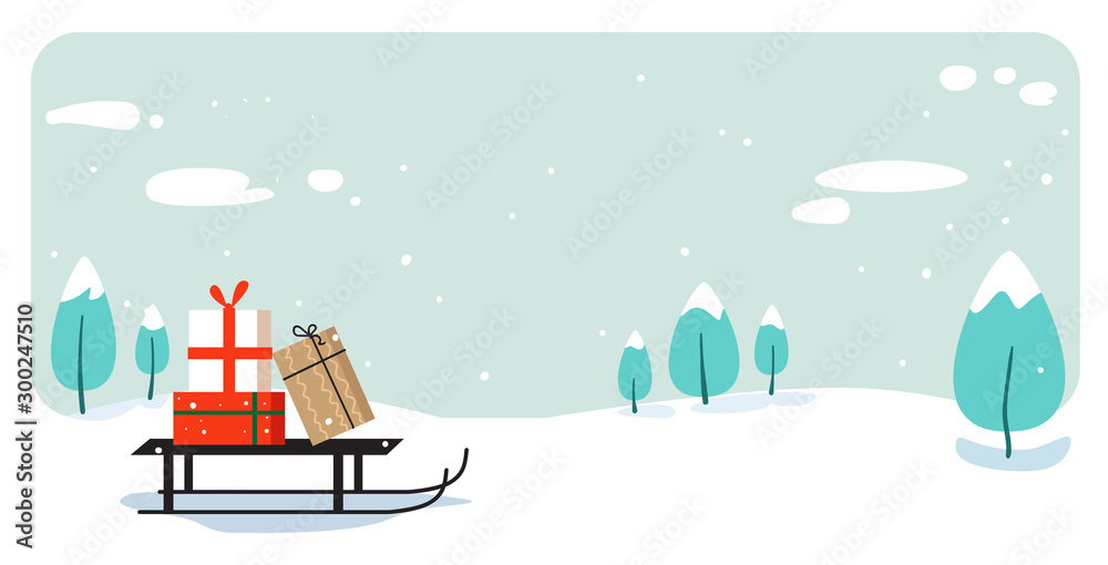 Fototapety, obrazy: santa claus sleigh with present box merry christmas happy new year holiday celebration concept greeting card winter snowy landscape background horizontal vector illustration