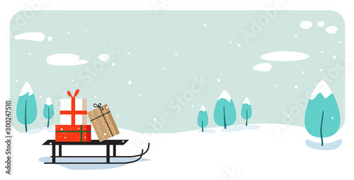 Foto op Canvas Lichtblauw santa claus sleigh with present box merry christmas happy new year holiday celebration concept greeting card winter snowy landscape background horizontal vector illustration