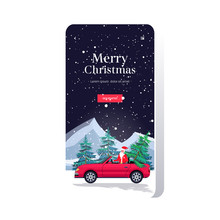 Santa Claus Driving Car With Fir Tree Merry Christmas Happy New Year Holiday Celebration Concept Smartphone Screen Online Mobile App Greeting Card Copy Space Vector Illustration