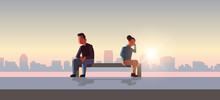Unhappy Sad Couple In Depression Having Relationship Problem Life Crisis Break Up Divorce Concept Man Woman Sitting Wooden Bench Cityscape Background Flat Full Length Horizontal Vector Illustration