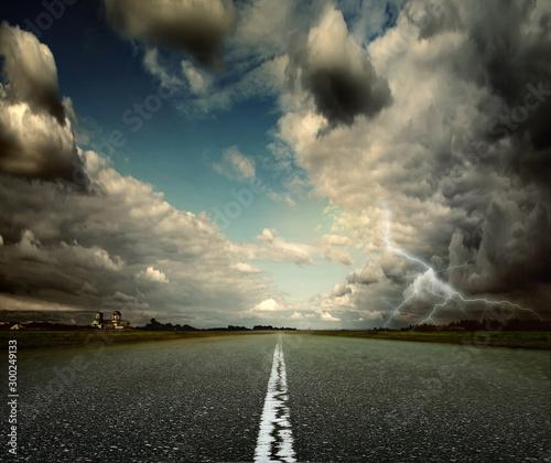 Foto auf AluDibond Blau türkis Road Landscape Background