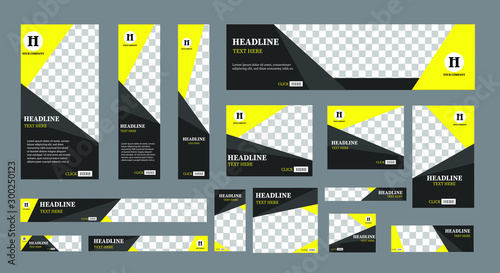 Obraz set of creative web banners of standard size with a place for photos.  Business ad banner. Vertical, horizontal and square template. vector illustration EPS 10 - fototapety do salonu