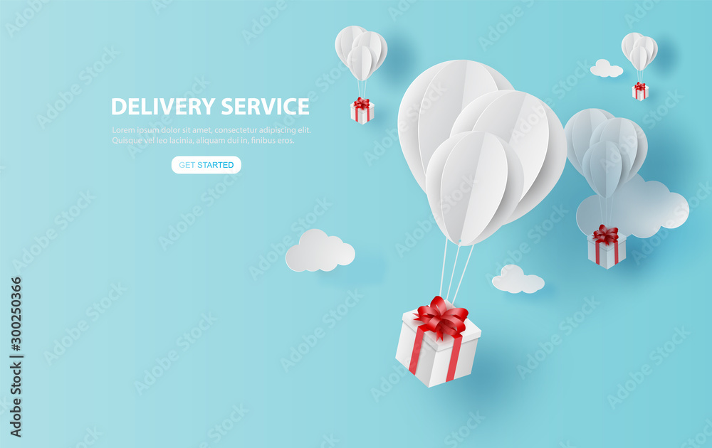 Fototapety, obrazy: Balloon white floating on sky.Delivery service with Gift Box on air blue background.happy new years and merry Christmas.Festival transportation concept.Creative paper cut and craft style vector EPS10