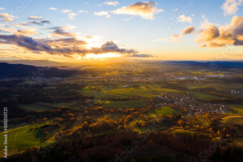 Fototapety, obrazy: Aerial view of Hohenzollern castle during bright sunset. Germany in the fall