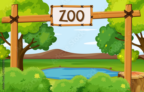 Background scene of zoo park with pond in the field