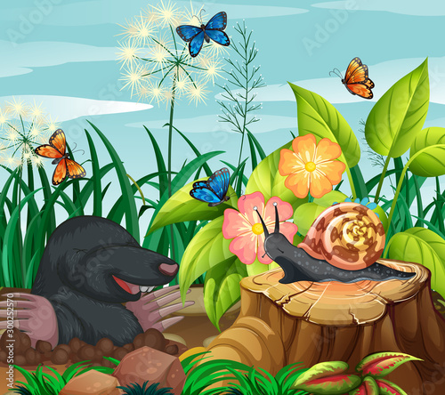 Foto op Plexiglas Kids Background scene with mole and butterflies in garden