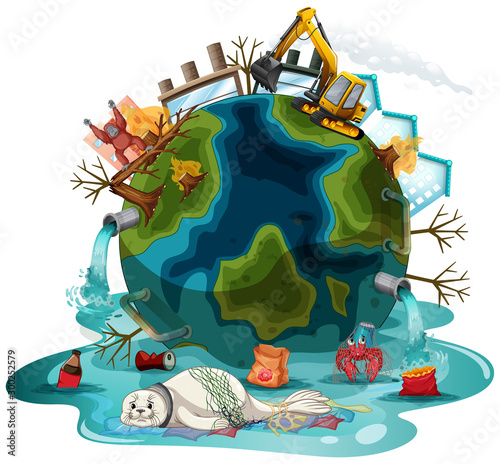 Spoed Foto op Canvas Kids Poster design with pollutions on earth