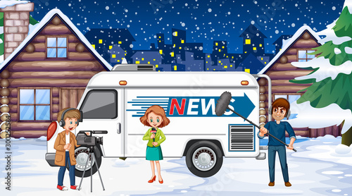 Scene with news reporter and crew on the snowy night