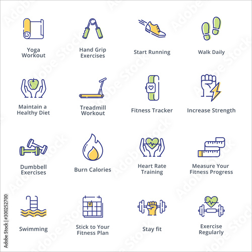 Valokuvatapetti Sports and Fitness Activities Icons - Outline Series