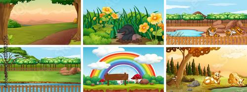 Spoed Foto op Canvas Kids Set of different scene of nature