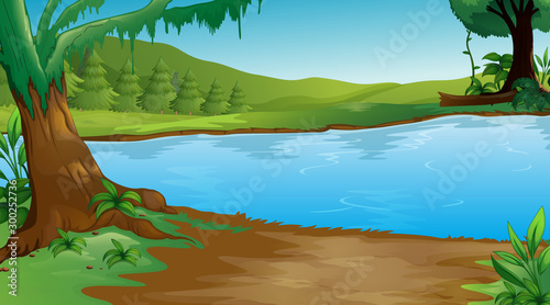 Spoed Foto op Canvas Kids Background scene with trees and lake