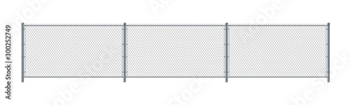Chain link fence. Metal Wire Fence. Wire grid construction Tableau sur Toile