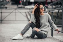 Beautiful Girl Posing In The S...