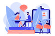 HR specialist having an interview with job applicant and candiadates waiting. Job interview, employment process, choosing a candidate concept. Pink coral blue vector isolated illustration