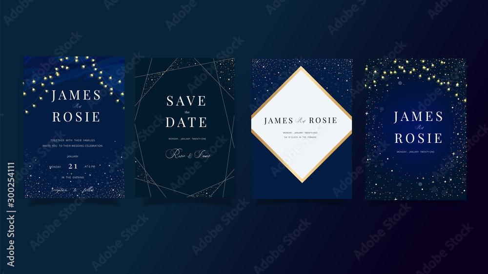 Fototapety, obrazy: set of navy Blue Universe Wedding Invitation, universe invite thank you, rsvp modern card Design in little star light in the sky, space Vector elegant rustic template