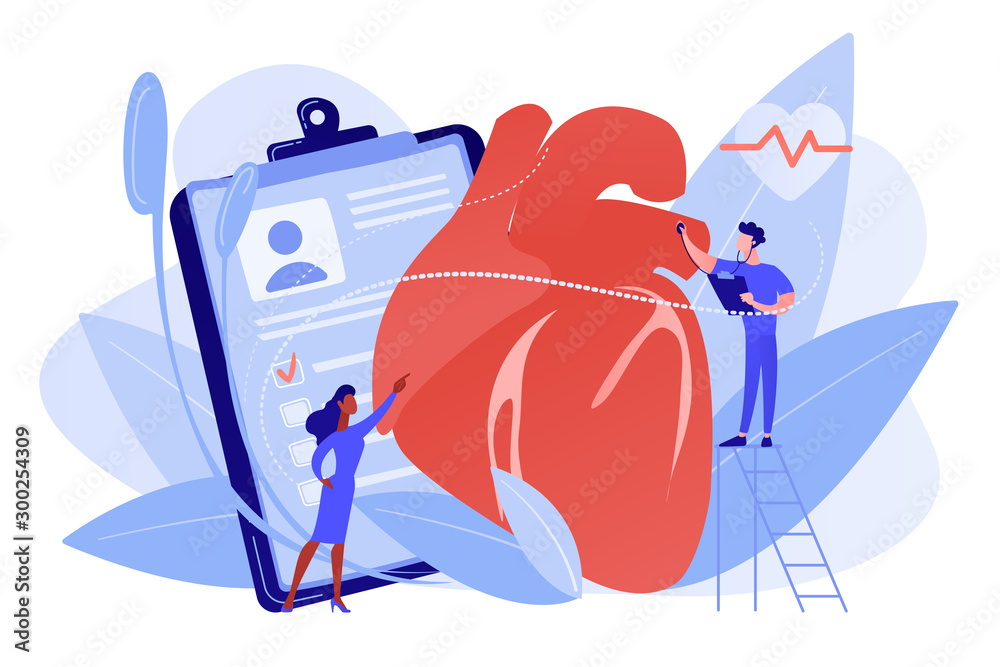 Fototapeta Doctor with stethoscope listening to huge heart beat. Ischemic heart disease, heart disease and coronary artery disease concept on white background. Pinkish coral bluevector vector isolated