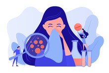 Female Patient Sneezing, Taking A Pill From Doctor And Allergen Under Magnifier. Allergic Diseases, Allergy Reaction, Antihistamines Therapy Concept. Pinkish Coral Bluevector Vector Isolated