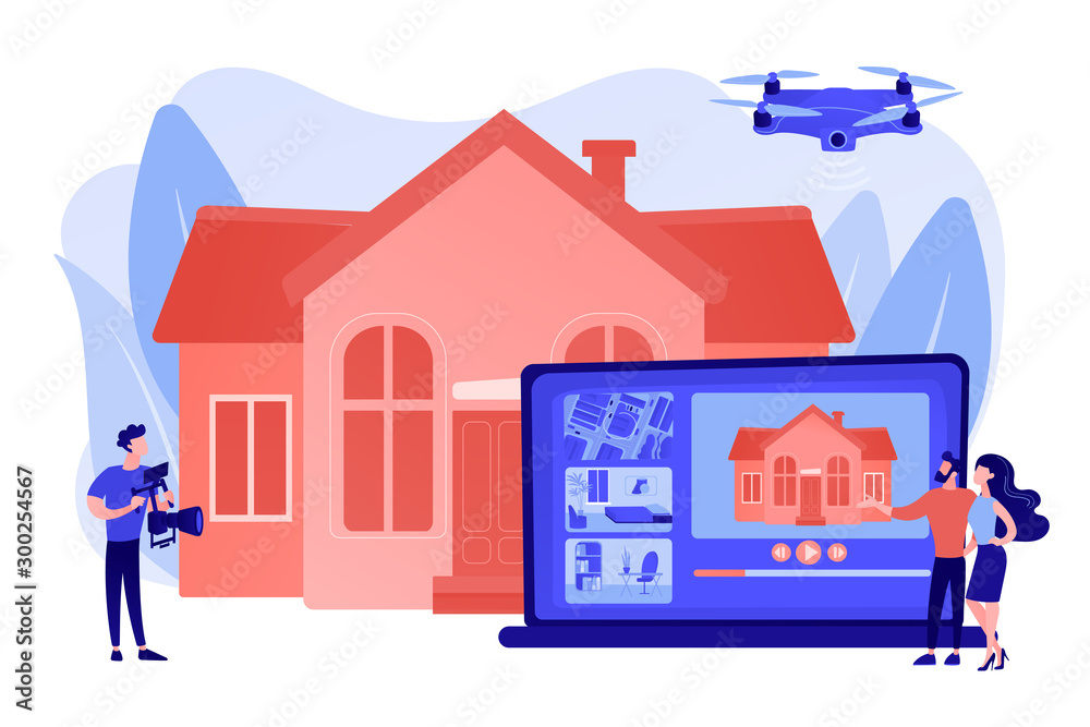 Fototapeta Couple watching house tour. Professional aerial property video. Real estate video tour, real estate marketing, real estate drone video concept. Pinkish coral bluevector isolated illustration