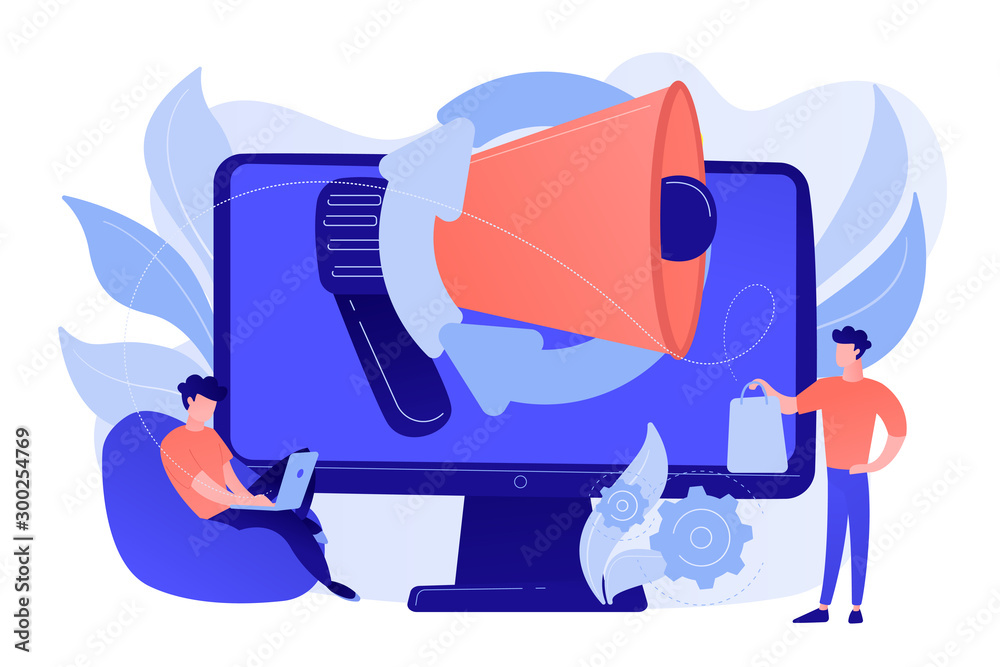 Fototapeta Computer with megaphone and businessman with laptop and shopping bag. Digital marketing, e-commerce, social media marketing concept. Pinkish coral bluevector isolated illustration