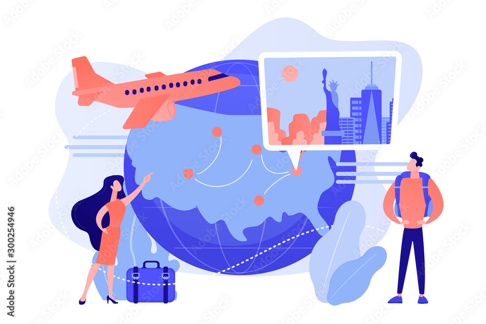 Fototapety, obrazy: Couple going on holiday vacation, around world journey. Travel agency tour. Inside country traveling, local tourism, learn your country concept. Pinkish coral bluevector isolated illustration