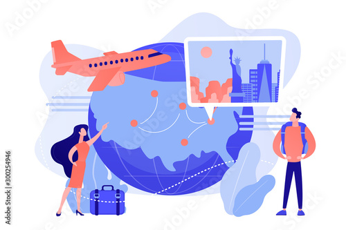 Fototapeta Couple going on holiday vacation, around world journey. Travel agency tour. Inside country traveling, local tourism, learn your country concept. Pinkish coral bluevector isolated illustration obraz