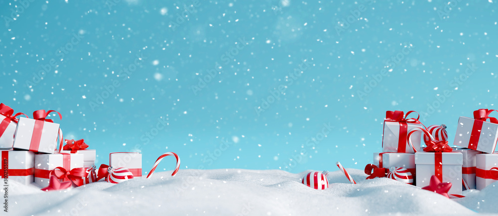 Fototapety, obrazy: Christmas decorations with gift boxes on snowy background. 3d rendering
