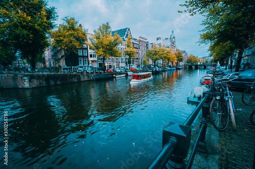 Vászonkép Amsterdam cityscape before the blue hour, Holland, The Netherlands