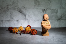 Home Decoration Ornament. Two Little Monk Statue Standing. Rattan Cane Balls, Praying Beads.