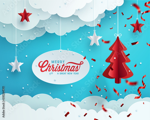 Photo Stands Turquoise Christmas greeting card design. Paper decoration and clouds against blue background. Vector Illustration