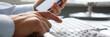 Leinwanddruck Bild - Businessman hipster holds telephone background of