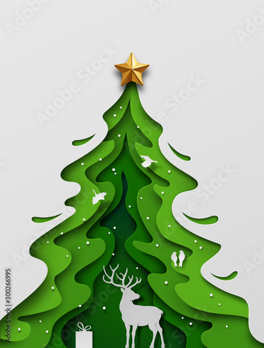 Paper art craft, Deer in forest with snow and birds. Overall composition appears as Christmas tree. Vector illustration