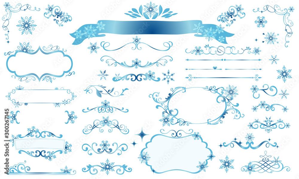 Fototapeta きらきら雪の結晶の冬のフレームイラスト