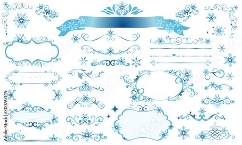 きらきら雪の結晶の冬のフレームイラスト Fototapete