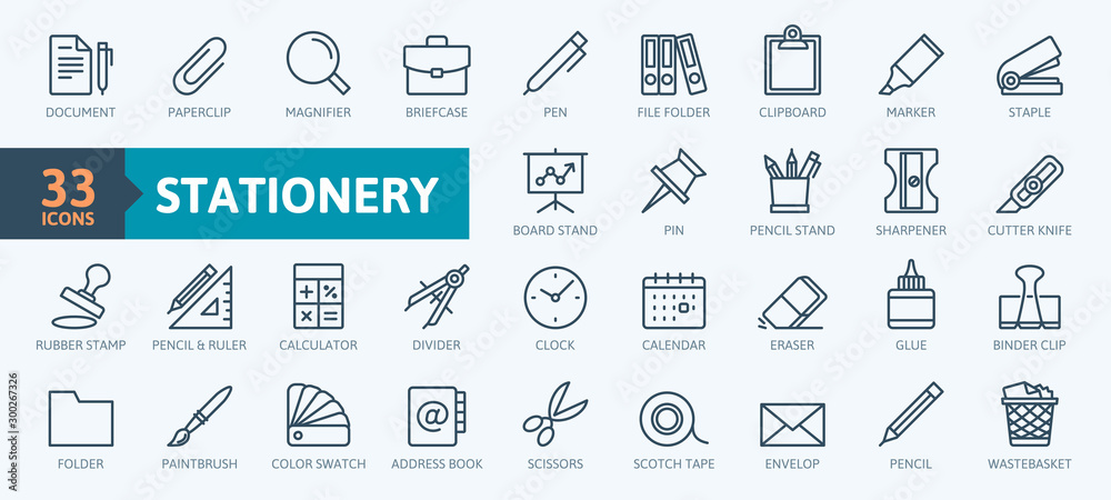 Fototapeta Office stationery - minimal thin line web icon set. Outline icons collection. Simple vector illustration.