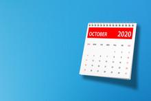 October 2020 Calendar On Blue Background