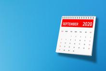September 2020 Calendar On Blue Background