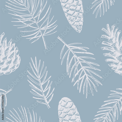 Türaufkleber Künstlich Hand drawn Christmas seamless pattern. Vector background with conifer branches and cones.