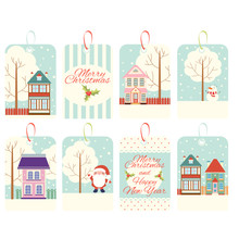 Set Of Christmas Vertical Gift Tag, Card, Badge, Sticker In Retro Style
