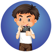 Cute Boy On Round Background