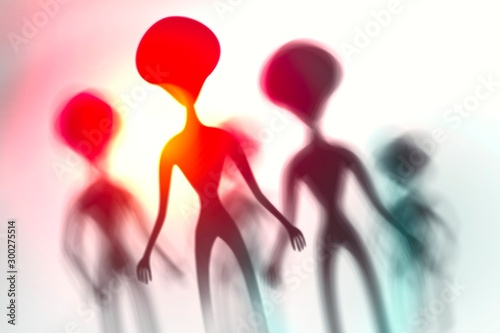 Photo Silhouettes of spooky aliens and bright light on behind them