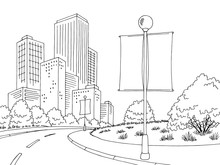 Road Billboard Graphic Black White City Street Landscape Sketch Illustration Vector