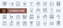 Furniture - Minimal Thin Line Web Icon Set. Outline Icons Collection. Simple Vector Illustration.