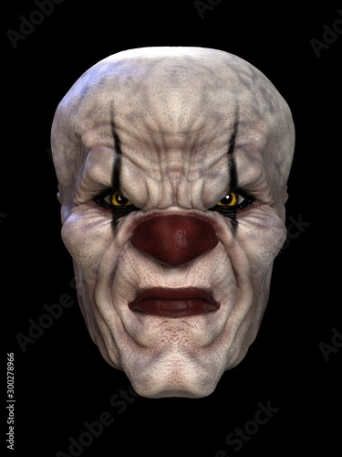 Fototapeta  The mask of a bad clown. 3D illustration