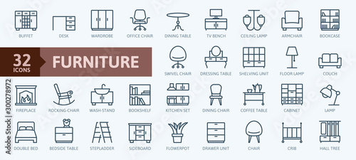 Obraz Furniture - minimal thin line web icon set. Outline icons collection. Simple vector illustration. - fototapety do salonu